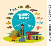 fisherman with big fish catch.... | Shutterstock .eps vector #640244428