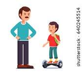 teenager boy riding a standing... | Shutterstock .eps vector #640245514