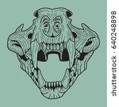 black skull of a tiger on a... | Shutterstock .eps vector #640248898