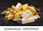 various types of cheese on... | Shutterstock . vector #640255414