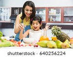indian mother and daughter in...   Shutterstock . vector #640256224