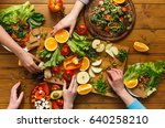 healthy food dinner table.... | Shutterstock . vector #640258210