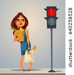 angry nerves hurrying late... | Shutterstock .eps vector #640258528