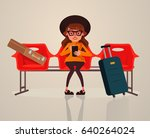 happy smiling woman tourist...   Shutterstock .eps vector #640264024