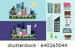 cartoon city generator  night... | Shutterstock .eps vector #640265044