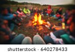 friends are sitting around the... | Shutterstock . vector #640278433