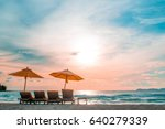sun set with the benches | Shutterstock . vector #640279339