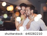 young successful couple smiling ... | Shutterstock . vector #640282210