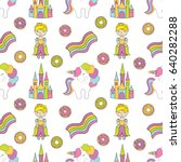 seamless baby pattern with cute ... | Shutterstock .eps vector #640282288