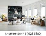 modern workspace with... | Shutterstock . vector #640286500
