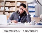 sick ill businessman in the... | Shutterstock . vector #640290184