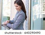 side portrait of beautiful... | Shutterstock . vector #640290490