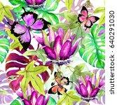 jungle paradise   tropical... | Shutterstock . vector #640291030