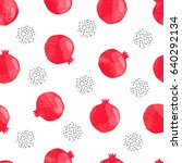 seamless pomegranate pattern.... | Shutterstock .eps vector #640292134