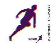 silhouette of a running man.... | Shutterstock .eps vector #640293598