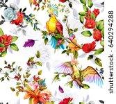 seamless pattern of parrots... | Shutterstock .eps vector #640294288