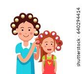 mother and daughter girl doing... | Shutterstock .eps vector #640294414