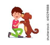 puppy dog licking kids face....   Shutterstock .eps vector #640294888