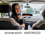 happy muslim woman and her son... | Shutterstock . vector #640296310