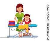 little girl kid helping her... | Shutterstock .eps vector #640297990