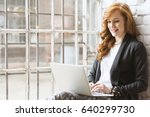 happy young freelance... | Shutterstock . vector #640299730