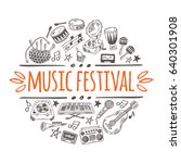 music festival concept with... | Shutterstock .eps vector #640301908