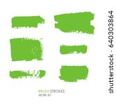 set of artistic green brush... | Shutterstock .eps vector #640303864