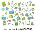 household appliances doodle... | Shutterstock .eps vector #640305748