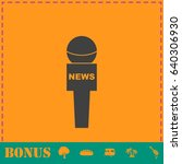 reporter microphone icon flat.... | Shutterstock . vector #640306930