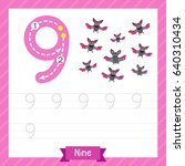 number nine tracing practice... | Shutterstock .eps vector #640310434