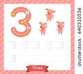 number three tracing practice...   Shutterstock .eps vector #640310536