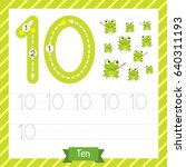 number ten tracing practice... | Shutterstock .eps vector #640311193