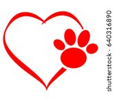 Hearts With Dog Paw Isolated O...