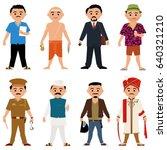 indian guys different jobs | Shutterstock .eps vector #640321210