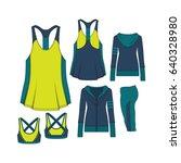 women sportswear fashion set | Shutterstock .eps vector #640328980