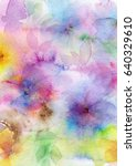 floral background. watercolor... | Shutterstock . vector #640329610