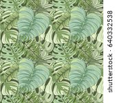 seamless tropical palm leaves... | Shutterstock .eps vector #640332538