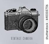 vintage camera nand drawn logo... | Shutterstock .eps vector #640333756