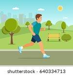 Running In City Park. Man...