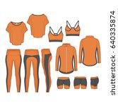 women running tops and leggings | Shutterstock .eps vector #640335874