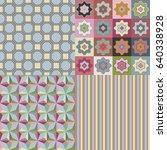 set of vector seamless fabric... | Shutterstock .eps vector #640338928