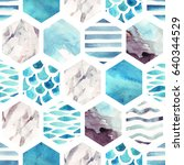 abstract textured hexagon... | Shutterstock . vector #640344529