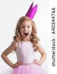 little princess girl in pink... | Shutterstock . vector #640344766