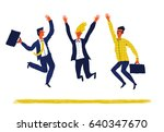 happy creative  group of... | Shutterstock .eps vector #640347670