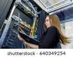 young woman engineer with a... | Shutterstock . vector #640349254
