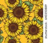 sunflower seamless pattern.... | Shutterstock .eps vector #640350889