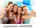 young women group taking selfie ... | Shutterstock . vector #640353496