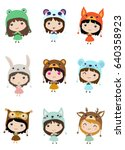 kawaii little girls. cute emoji ... | Shutterstock .eps vector #640358923