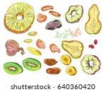 dehydrated fruit set in... | Shutterstock .eps vector #640360420