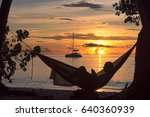 beach vacations  silhouette of... | Shutterstock . vector #640360939